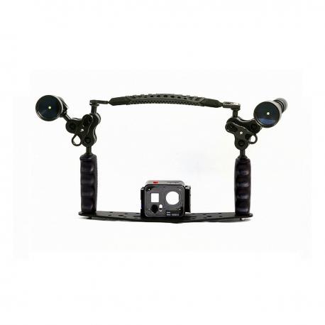Doppelfach-Kit L25 mit Carbonarm-Lichtstützen Set. Doppelschiene 25cm mit Support für Lampen SFF2/BRA25/MN2/LUC
